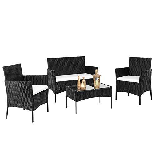 æ— Juego de muebles de jardín de ratán, 4 piezas, juego de bistró de mimbre para exteriores, 2 sillones, 1 sofá de asiento doble y 1 mesa de café de cristal templado, color negro
