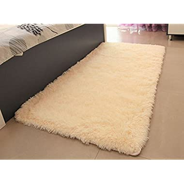 ACTCUT Super Soft Indoor Modern Shag Area Silky Smooth Fur Rugs Fluffy Anti-skid Shaggy Area Rug Dining Living Room Carpet Comfy Bedroom Floor 4- Feet By 5- Feet (Beige)
