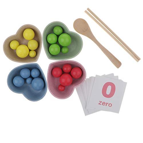 B Blesiya Montessori Lernspielzeug Kinder Essstäbchen Training Set und Zahlenkarten 1-10