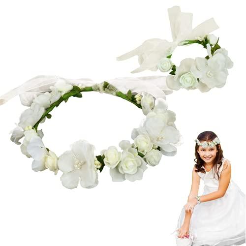 Coroncine Fiori per Capelli, coroncina fiori,Ghirlanda copricapo,corona di fiori bianchi,ghirlanda di copricapo per la sposa da damigella, fascia per capelli regolabile con fiore.(2 pezzi)