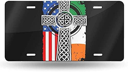 yunsu Irish American USA Flag Celtic Cross License Plate,Vanity Tag,Aluminum Novelty Decorative Front Plate 6 X 12 Inch