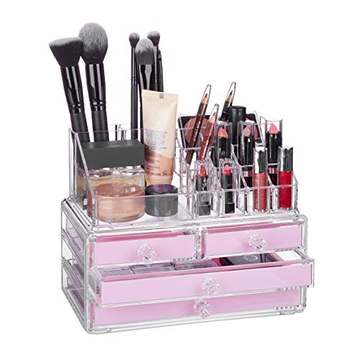 Relaxdays 10023130_52 Organisateur cosmétiques 2 Parties boîte Rangement Maquillage Make up 12 Porte-Crayons, Rose, Acrylique, Bonbon, 19 x 24 x 13,5 cm