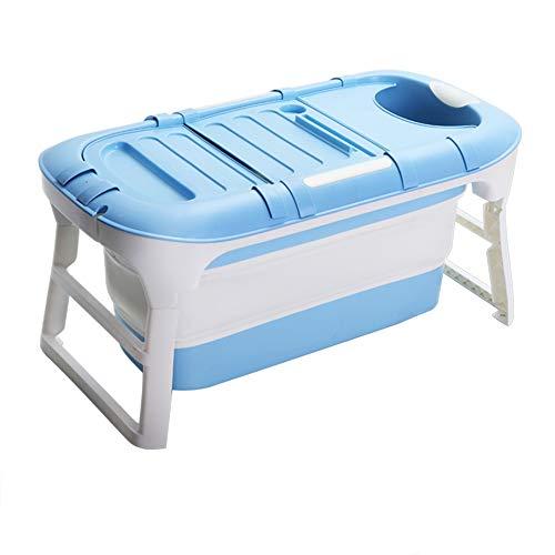 CKR La Bañera Plegable, Alargar Bañera De Hidromasaje para Adultos Plástico Plegable Fácil para Acomodar Grandes Tina De Baño (Sin Cubierta),Azul