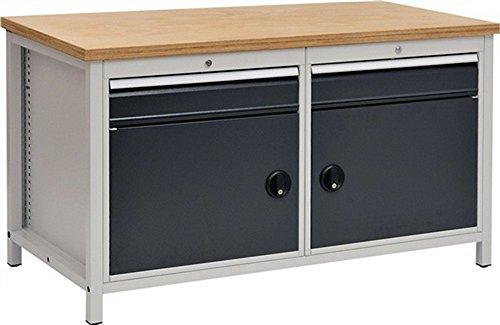 Werkbank B1500xT750xH859 grijs/antraciet, laden 2x150 deuren 2x450 40mm Multiplex