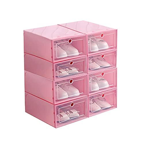 Ikaif 8 Unidades De Caja De Zapatos Apilable, Caja De Almacenamiento De Zapatos De Plástico Transparente para Hombres Y Mujeres De Gran Tamaño con Puerta Transparente (Pink)