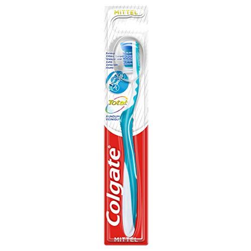 Colgate Zahnbürste Total Rundum-reinigung, mittel, 1 Stück, reinigt Zahnoberflächen, Zunge, Wangen und bis tief in die Zahnzwischenräume