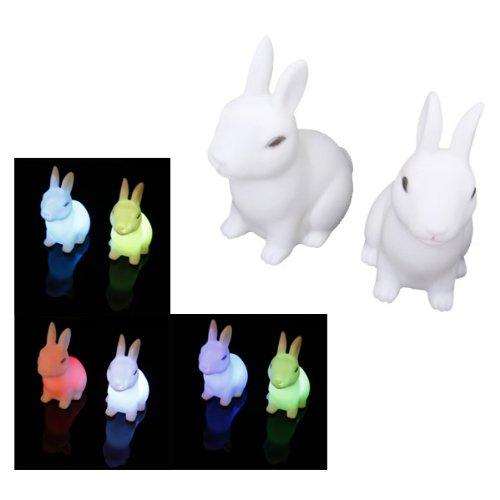 Sodial -Juego de 2lámparas LED de colores, diseño en forma de conejo