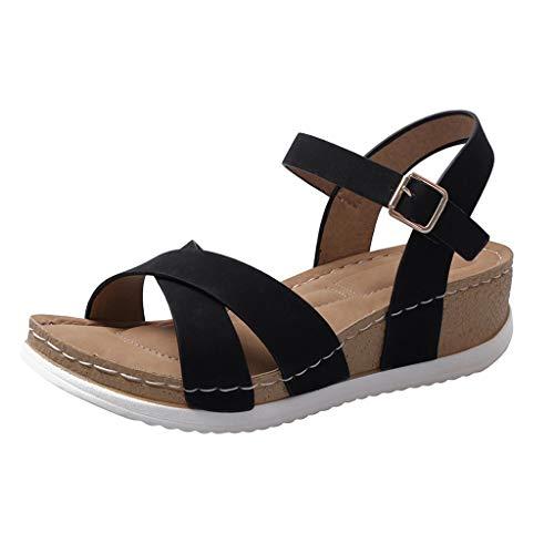 Luckycat Sandalias con Plataforma para Mujer Sandalias Mujer Verano, Sandalias de Verano Mujeres envejecidas Sandalias de Moda Plana Zapatos de Damas cómodas
