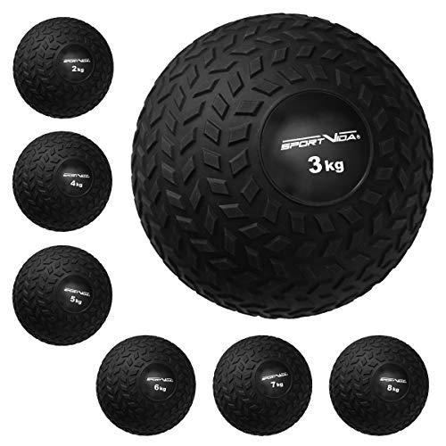 Slam Ball Gummi Medizinball. Fitnessball Gewicht 2-8 kg mit Griffiger Oberfläche. Durchmesser Medizinballs 23 cm. rutschfest Trainingsball für Sport. (5 KG)