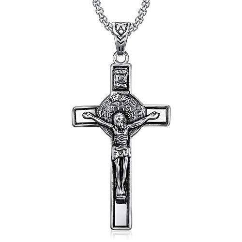 BOBIJOO Jewelry - Hanger Ketting, Sint-benedictus van Nursia Beschermer Jezus aan het Kruis INRI Staal 316L Ketting