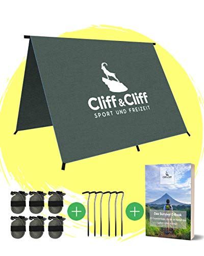 Cliff&Cliff 2-in-1 Tarp 3x3 Waterproof Tarp with Ripstop Fabric and Taped Seams for Outdoor Hammocks or as Tent Tarp Ultralight Rain & Sun Protection Camping Hiking