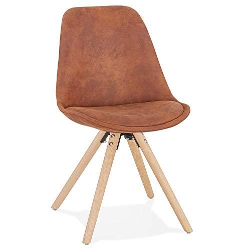 Silla de diseño de comedor, cocina Firenza de microfibra, patas de madera natural