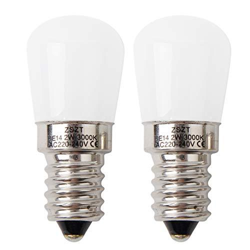 Lampadina per frigo E14 LED 2W ZSZT Bianco caldo 3000K (15W alogena lampadina equivalente) per mappamondo, lampade da comodino, confezione da 2 unità