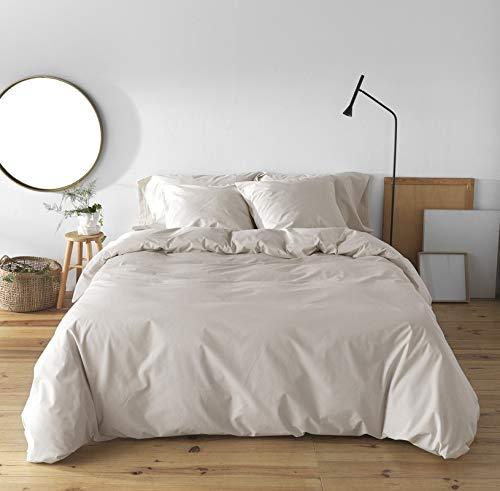 BOHEME Funda Nórdica Lisa Beig Lino 100% algodón 200 Hilos, Cama de 105 cm