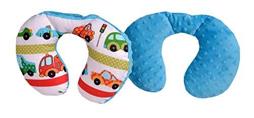 Medi Partners nekkussen kinderen nek steun 100% katoen/Minky Baby nekkussen voor auto kinderwagen autorit reizen slaap nek kussen sluimerrol (Cars met turquoise Minky)