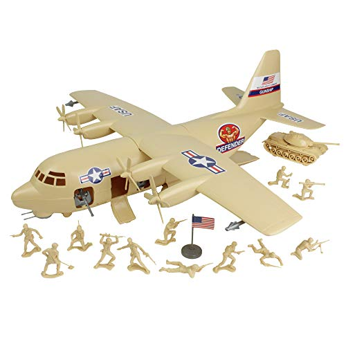TimMee Plastic Army Men C130 Playset - Tan 27pc Giant Military...