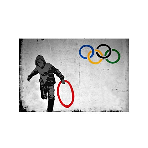 AZTeam Banksy Art Style Hold Olympics Ring Graffiti Art Abstract Canvas Painting Posters And Prints Wall Art Prints Home Decor-50X75Cm No Frame