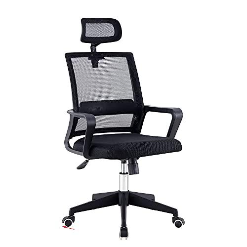 Bürostuhl, Ergonomischer Drehstuhl Schreibtischstuhl mit Armlehne, Kopfstütze und Lordosenstütze, Executive Chair Verstellbarer Mesh-Computerstuhl mit Wippenfunktion, Tragfähigkeit 330IBS