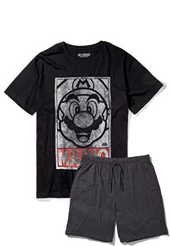 Recovered - Schlafanzug mit Super-Mario-Motiv - Vintagelook - Schwarz/Dunkelgrau - XL