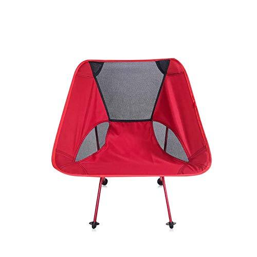 ZJING Schwarz Ultraleicht Tragbare Falten Outdoor Camping Stuhl Roter Mond Stuhl Orange Luftfahrt Aluminium Angeln Stuhl (53 * 35 * 67 cm),Red