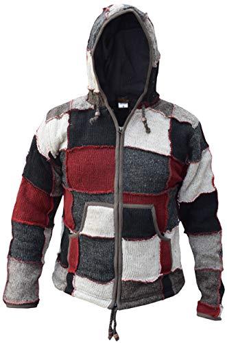 Little Kathmandu – giacca di lana naturale, motivo a toppe, da elfo/mago, con cappuccio. Red Grey Patch Small