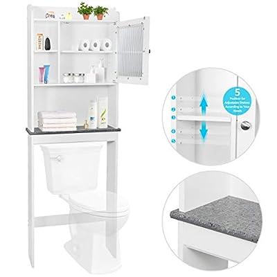 SUPER DEAL New Version Over-The-Toilet Bathroom Storage Cabinet Freestanding Wooden Bathroom Organizerw/Adjustable Shelves