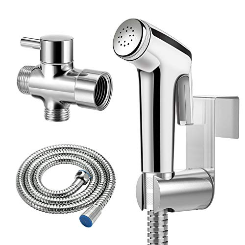 Toilet Bidet Sprayer, WOLFTAIL Handheld Sprayer for Baby Cloth Diapers, Adjustable Pressure Control Bathroom Cleaner, Shower Sprayer Faucets for Pet (Wall or Toilet Mount)