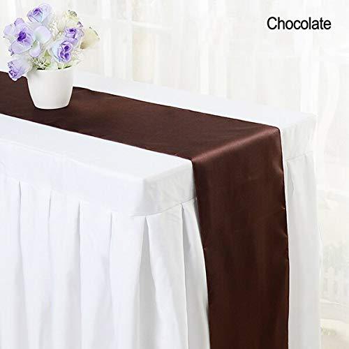 Groen 10pcs / lot 30 * 275 cm eenvoudig, modern tafelkleed roze satijn slip mat voor feesten bruiloft tafel naar tafel house party vlag tafelkleed mat,30x275cm,chocolade