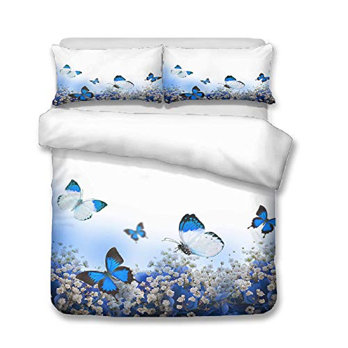 Funda nordica 90 Mariposa Azul Ropa de Cama Microfibra fácil Cuidado Juego de Funda de edredón 135x200cm con 2 Fundas de Almohada 50x75cm