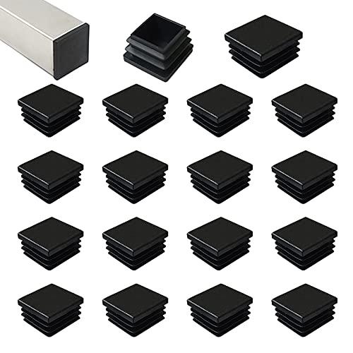 HJYZY 20mm Tappo per Tubo Quadrato Nero Cappucci Terminali Tappi Lamellari per Tubi Quadrati per Tubi di Ferro/Mobili/Trampolino/Sedia 20 pezzi