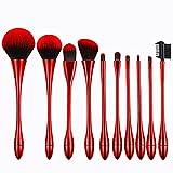 10pcs cepillo cosmético oro rosa/rojo/color de ocre pinceles de maquillaje establecer la cara compone las herramientas