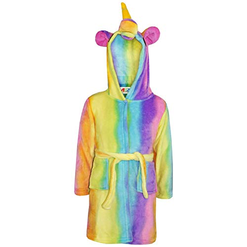 A2Z 4 Kids® Ragazze Ragazzi Accappatoio Bambini Novità 3D Animale - Bathrobe Unicorn Rainbow 11-12