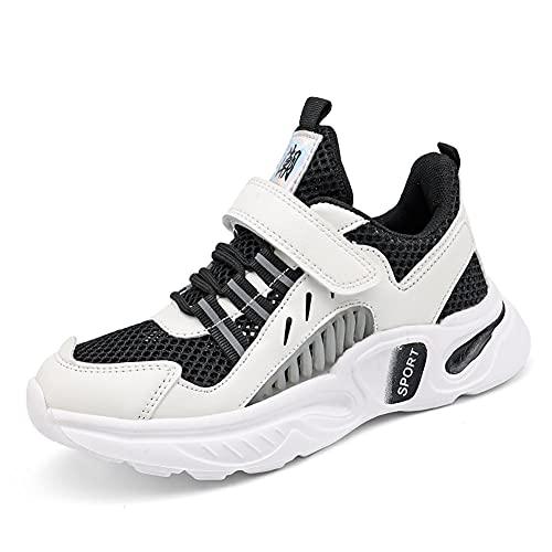 BLBK Zapatillas de deporte para niños, para correr, para niños, para el colegio, para interiores, para el verano, al aire libre, para niños., Negro , 36 EU