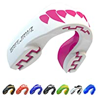 Safejawz Extro Series Mouth Guard for Rugby, Boxing, MMA, Hockey. 'Pink Fangz' Junior Kids Gum Shield by Schanner