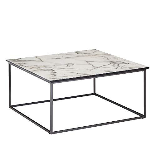 FineBuy Tavolino Salotto Aspetto del Marmo Tavolo da Soggiorno 80x80x38 cm Bianco | Tavolinetto Quadrato Moderno | Tavolino da caffè