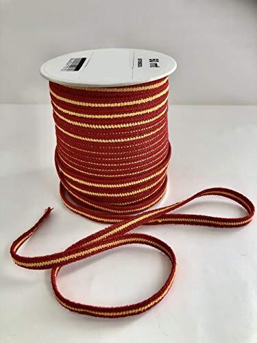DECOHOUSE Bobina cordon mascarillas elástica 50mts cuerda redonda suave de 7mm de grosor. Cinta para ropa, mercería, tela, bricolaje casa. bandera españa