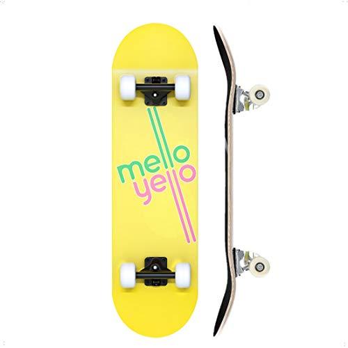 """TACKLY Skateboard Adulto Completo 7-9 Capas/Layers – monopatín Skate 31""""x8 Madera de Arce para niños y Adultos Unisex – Apto para Todos los Niveles Principiante intermedio avanzado (Mello Yellow)"""