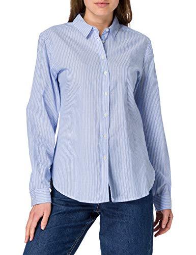 Springfield Blusa Estampada Algodón Orgánico Camisa, Azul Claro, 38 para Mujer