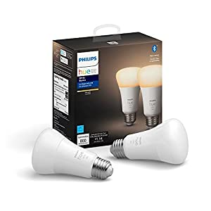 Philips Hue White 2-Pack A19 LED Smart Bulb, Bluetooth & Zigbee compatible (Hue Hub Optional), voice activated with Alexa