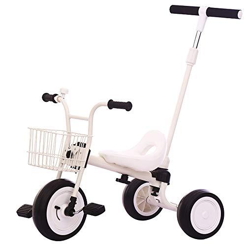 Axdwfd kinderen driewieler 1-5 jaar oud verjaardagscadeau baby driewieler met drukknop handvat belasting (gewicht 25 kg)