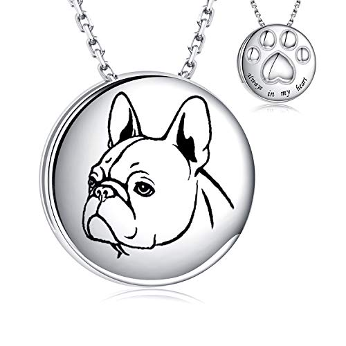 Pet Cremation Necklace for Dog - 925 Sterling Silver Always in My Heart Paw Print Memorial Keepsake Pendant Urn Jewelry for Ashes (French Bulldog)