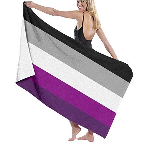 QUEMIN Gris Gris Asexual Ace Pride Flag Toalla de Playa de Microfibra Suave Manta Toallas de Secado rápido Toallas de baño de Gran tamaño 80x130cm