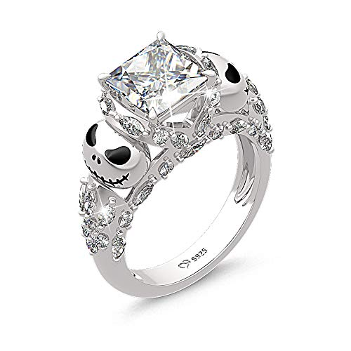 Jeulia Jack Skellington Anelli Donna Nightmare Before Christmas Skull Rings 925 Sterling Silver Princess Cut Band Ring Anniversary Promise Romantic for Her Teen Girls (9.25)