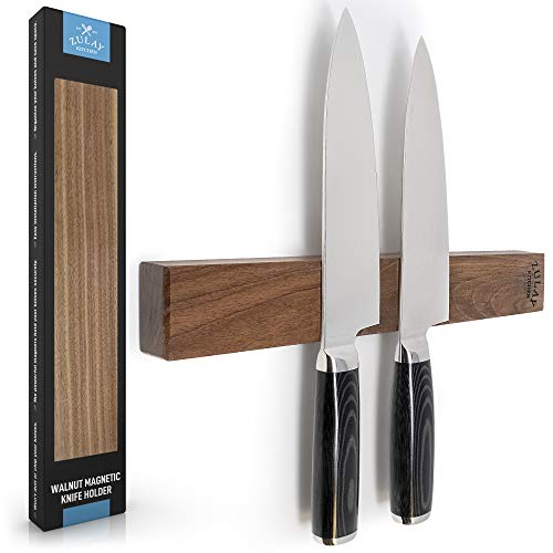 Zulay Seamless Walnut Wood Magnetic Knife Holder - Powerful Wood Magnetic Knife Strip for Organizing your Kitchen - Elegant & Multifunctional Magnet Holder for Wall with Easy Installation - 11.75'