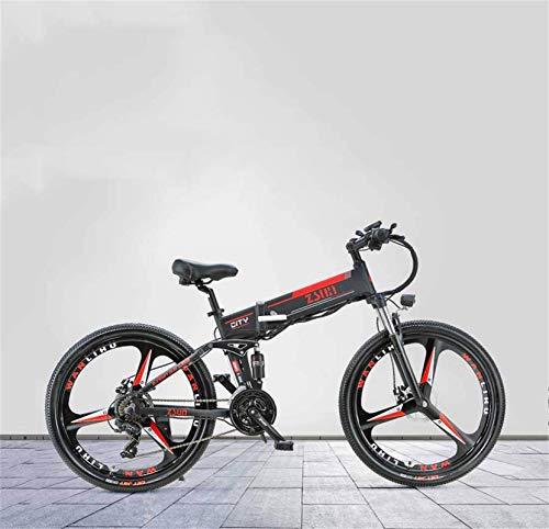 Bicicleta de montaña eléctrica, Bici de montaña eléctrica plegable adulto de 26 pulgadas, batería de litio 48V, bicicleta eléctrica de aleación de aleación de aluminio de alta intensidad, 21 velocidad