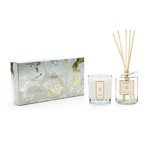 bahoma White Pearl Collection Duftkerze und Raumduft-Diffusor, 100 ml, Vanille Parfait