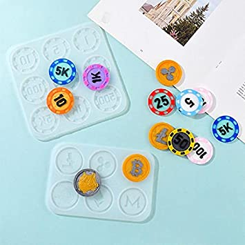 POWKER DIY Craft Game Currency Crystal Epoxy Resin Mold Collection ...