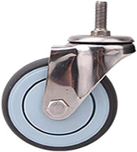 Superior Rueda giratoria 304 ruedas de rodillo de acero inoxidable TPE Wheel Sin óxido 3 4 5 pulgadas Médicas Médicas Alimentos Fábrica de alimentos silenciosa Rueda de empuje plano DIY Piezas de repu