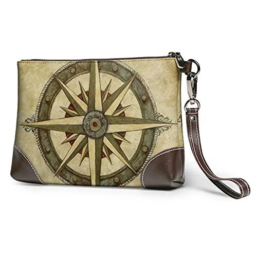 mengmeng Vintage Compass Art Wristlet Bag Cuero auténtico Bolsos de pulsera para las mujeres bolso de embrague bolsos con correa de muñeca y cierre de cremallera
