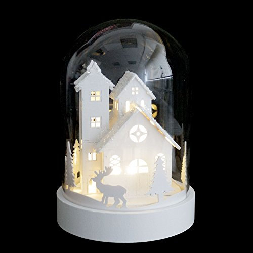 LED kerstscène huis in glazen klok 18xØ12,5cm - kerstdecoratie tafeldecoratie kerstdecoratie decoratie lichtdecoratie
